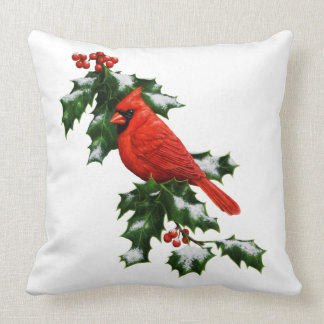 Male Northern Cardinal and Holly Pillows