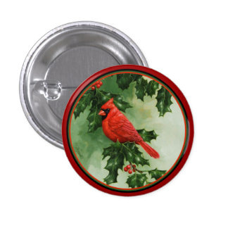 Male Northern Cardinal and Holly Pinback Button