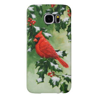 Male Northern Cardinal and Holly Samsung Galaxy S6 Case