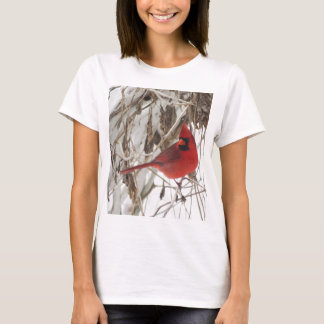 Male Northern Cardinal on Winter Vines T-Shirt