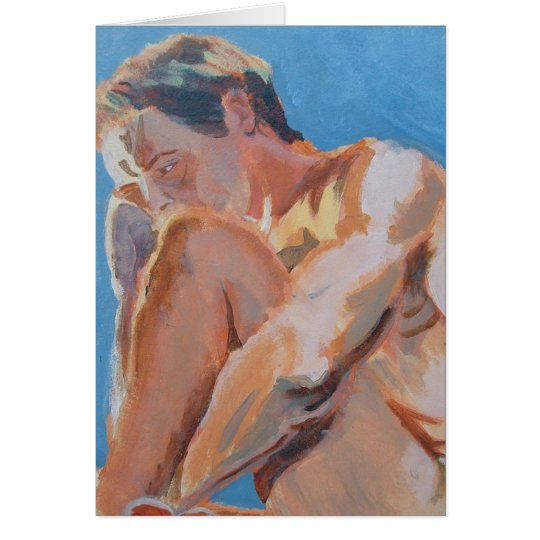Male Nude Acrylic Painting of crouching man Card