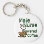 Male Nurse Powered by Coffee Basic Round Button Keychain
