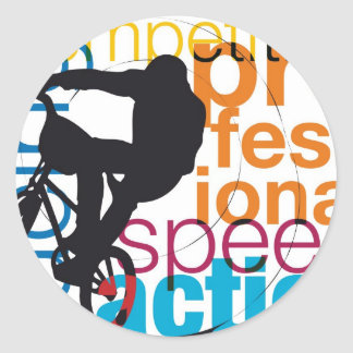 Male on a bicycle classic round sticker