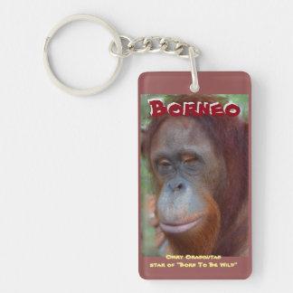 Male Orangutan Red Beard Great Ape Double-Sided Rectangular Acrylic Keychain
