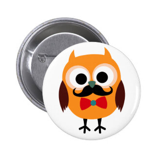 Male Owl with Black Mustache Pinback Button