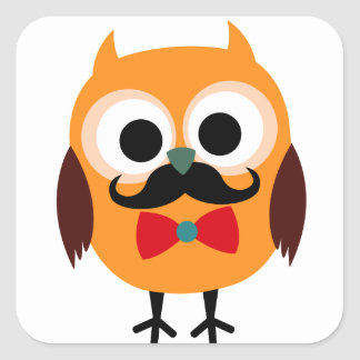 Male Owl with Black Mustache Stickers
