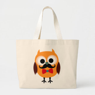 Male Owl with Black Mustache Tote Bags
