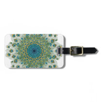 Male Peacock Colorful Mandala Luggage Tag