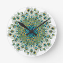 Male Peacock Colorful Mandala Round Clock