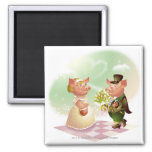 Male pig gives a bouqet of flowers to a female pig 2 inch square magnet