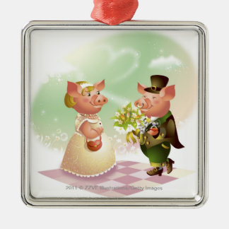 Male pig gives a bouqet of flowers to a female pig christmas tree ornaments