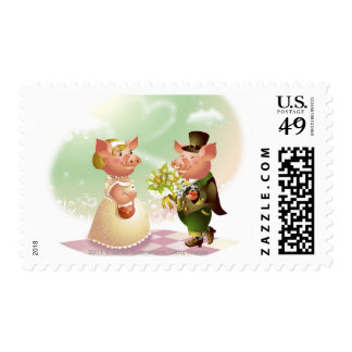Male pig gives a bouqet of flowers to a female pig postage stamp
