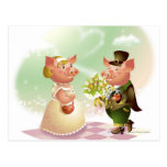 Male pig gives a bouqet of flowers to a female pig postcard