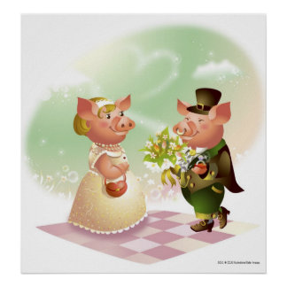 Male pig gives a bouqet of flowers to a female pig poster