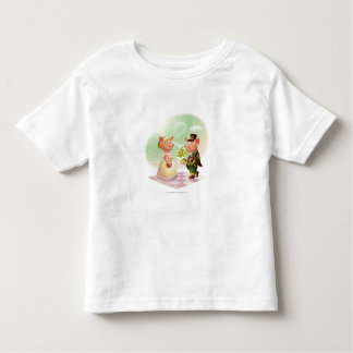 Male pig gives a bouqet of flowers to a female pig toddler t-shirt