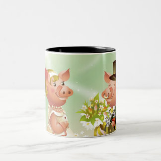 Male pig gives a bouqet of flowers to a female pig Two-Tone coffee mug