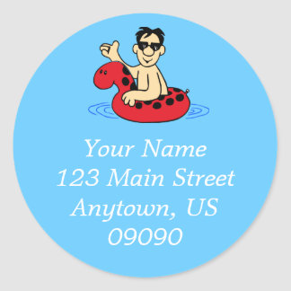 Male Pool Party Address Label (Red) Classic Round Sticker