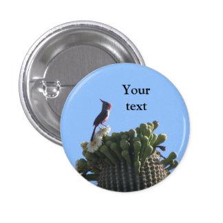 Male Pyrrhuloxia on Saguaro Cactus Blooms 1 Inch Round Button
