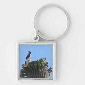 Male Pyrrhuloxia on Saguaro Cactus Blooms Keychain