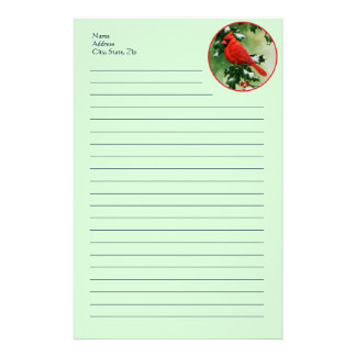 Male Red Cardinal and Holly Personalized Stationery