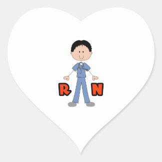MALE REGISTERED NURSE HEART STICKER