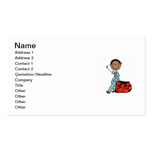 Male Respiratory Therapist or EMT Business Card