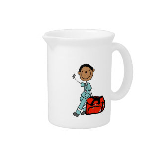 Male Respiratory Therapist or EMT Drink Pitchers