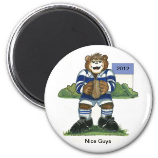 Male Rugby Bear in Blue 2 Inch Round Magnet