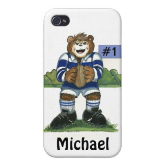 Male Rugby Bear in Blue Covers For iPhone 4