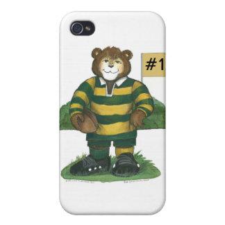 Male Rugby Bear in Green and Gold Cases For iPhone 4