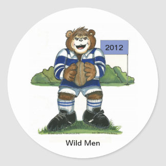 Male Rugby Bear in Green and Gold Classic Round Sticker