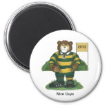 Male Rugby Bear in Green and Gold Fridge Magnets