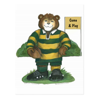 Male Rugby Bear in Green and Gold Post Cards