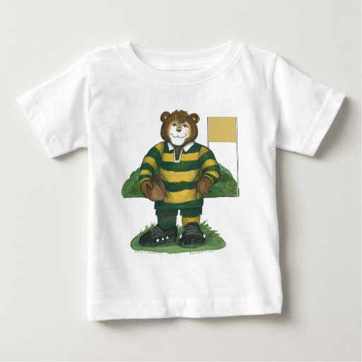 Male Rugby Bear in Green and Gold T-shirts
