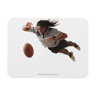 Male rugby player diving for ball rectangular photo magnet