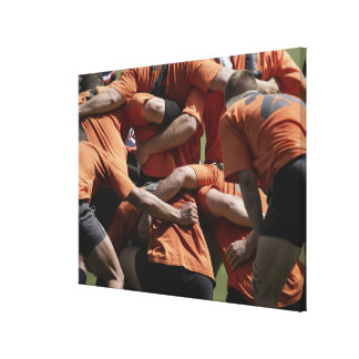 Male rugby players in scrum, rear view canvas print