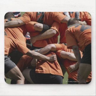 Male rugby players in scrum, rear view mouse pad