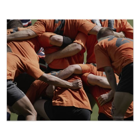 Male rugby players in scrum, rear view poster