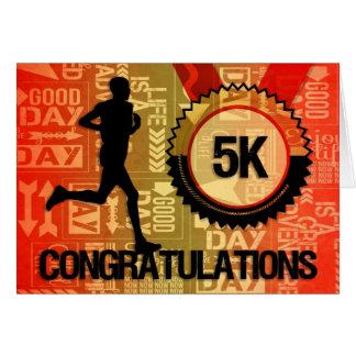 Male Runner 5K Race Congratulations Card
