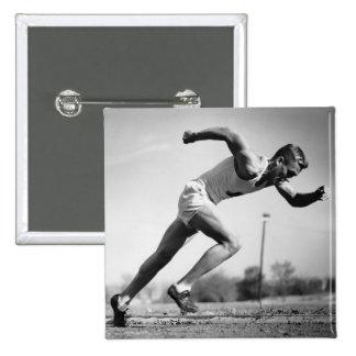 Male Runner Pinback Button