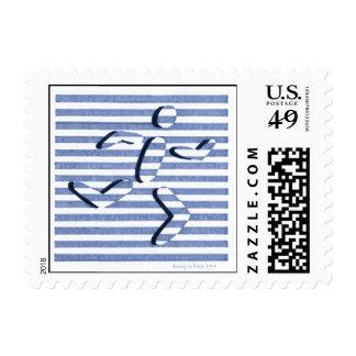 male runner steel blue stamp
