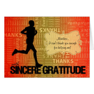 Male Runner Thank You in a Sports Theme Card