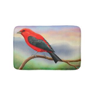 Male Scarlet Tanager Bird Bath Mat Bath Mats