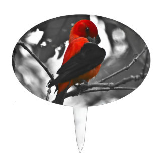 Male Scarlet Tanager Cake Topper
