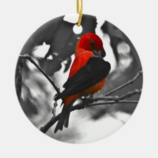 Male Scarlet Tanager Ceramic Ornament