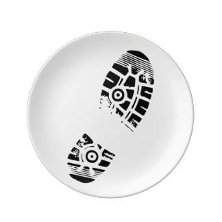 Male shoe print porcelain plate