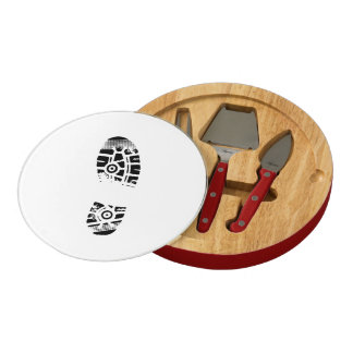 Male shoe print round cheese board