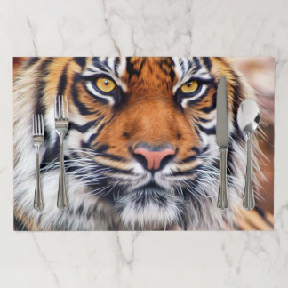 Male Siberian Tiger Paint Paper Placemat