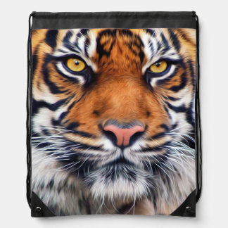 Male Siberian Tiger Paint Photograph Drawstring Backpack