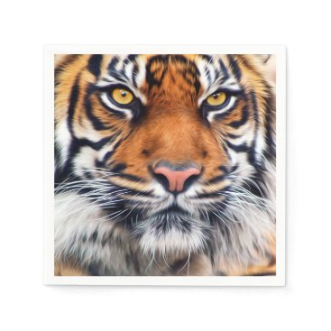 ironydesignphotos Male Siberian Tiger Paint Photograph Paper Napkin